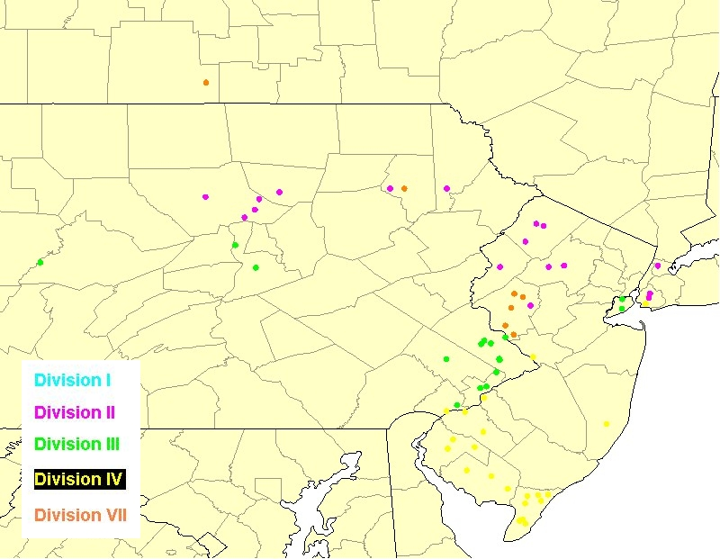 Birthplaces of some Division descendants in New York, New Jersey, and Pennsylvania born with the Corson surname or a variant